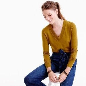 J. CREW Merino Wool V Neck Sweater Mustard {M46}
